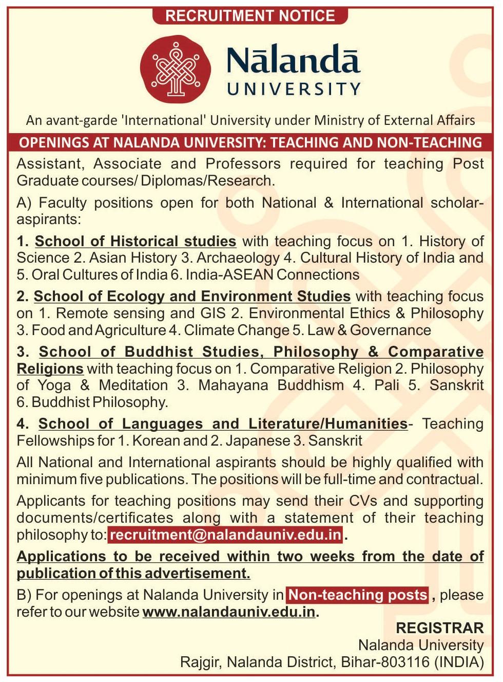 Jobs and Internships at Nalanda University