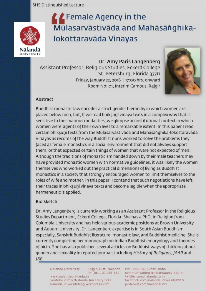 Distinguished Lecture: Bhikṣuṇī in Buddhism and the Female Agency