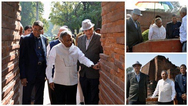 Chancellor Bhatkar at Nalanda Ruins
