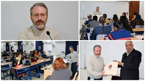 Dr. Francesco Sferra while delivering a lecture