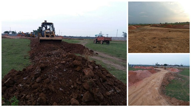 Work underway at the main campus for preparing the ground for convocation